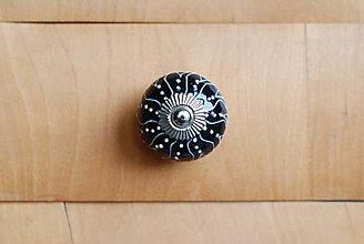 Komponenty - Úchytka čierna s vlnkami - 9010419_