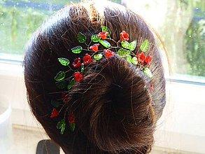Ozdoby do vlasov - Vetvička z korálok na drôtiku - 9008128_