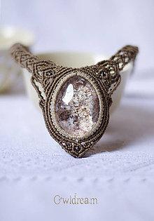 Náhrdelníky - Makramé náhrdelník s fantómovým krištáľom •Zrkadlo do duše• - 9009722_