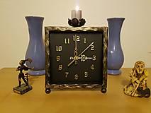 Hodiny - Kovové hodiny so svietnikom - 9014181_
