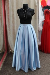 Sukne - Saténová sukňa - svetlomodrá - 9013247_