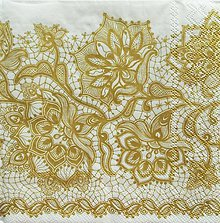 Papier - S1106 - Servítky - čipka, krajka, zlatá, ornament, ľudový, folk - 9012149_