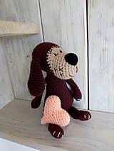 Hračky - Hnedý psíček so srdiečkom - 9012321_