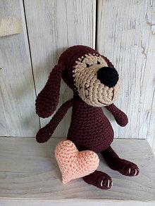 Hračky - Hnedý psíček so srdiečkom - 9012320_