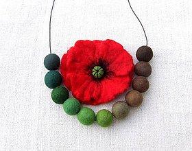 Sady šperkov - ...plstený set - náhrdelník s brošňou... - 9012798_