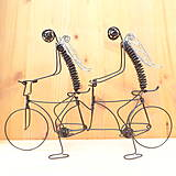 Dekorácie - Anjeli na tandemovom bicykli - 9013174_