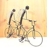 Dekorácie - Anjeli na tandemovom bicykli - 9013175_