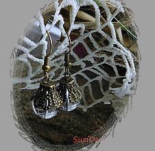 Náušnice - vintage priehľadné zvončeky - 9011357_