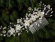 svadobný hrebienok do vlasov - bielo zlatý 3 (Veľkosť ozdoby je cca 31 x 8 cm. - Zlatá)