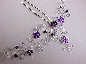Ozdoby do vlasov - vlásenka - fialová ruža - 9013000_