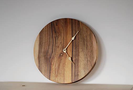 Hodiny - orechové hodiny / zlaté ručičky - 9014220_