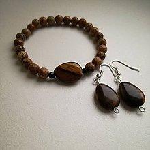 Sady šperkov - Set náramok a náušnice tigrie oko - 9011557_