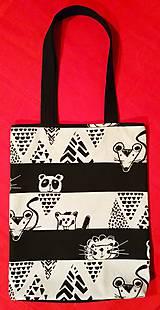 Nákupné tašky - Čiernobiela taška - crazy zvieratká - 9013819_