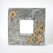 Zrkadlá - Steampunk zrkadlo s ozubenými kolesami a falošnou kovanou úpravou - 9013253_