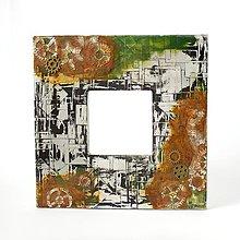 Zrkadlá - Zrkadlo s ozubenými kolesami a hrdzou v steampunk štýle - 9013438_