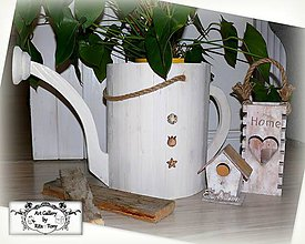 Dekorácie - Drevená kanvica-kvetináč :) - 9014348_