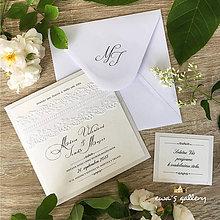 Papiernictvo - Svadobné oznámenie ~Čipka Kocka~ - 9011653_