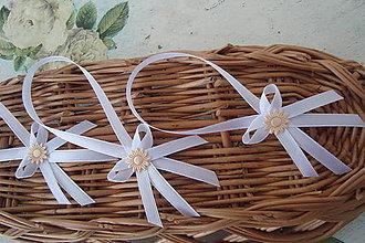 Darčeky pre svadobčanov - Ozdobné stuhy na fľaše - 9012885_