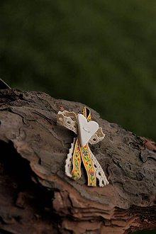 Pierka - Svadobné pierko folk žlté - 9015101_