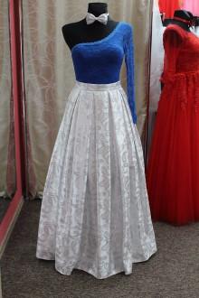 Sukne - Brokátová strieborná sukňa - 9016716_