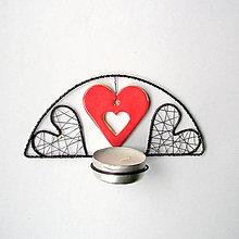 Svietidlá a sviečky - svietnik s keramickým srdiečkom - 9015966_