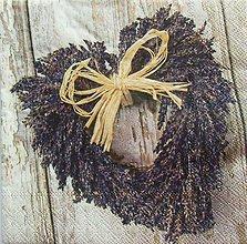 Papier - S1107 - Servítky - levandula, srdce, drevo, lyko, rafia - 9015861_