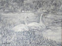 Obrazy - Labute pri jazere - 9017055_