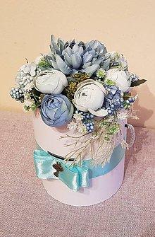 Dekorácie - kvetinový box - modrá s mentolovou na gratuláciu - 9017046_