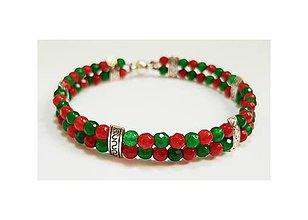 Náramky - Smaragdovo-rubínový jadeit (náramok) - 9019608_