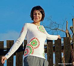 Tričká - Dámske tričko maľované, etno GEETA - 9017758_