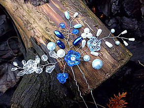 Ozdoby do vlasov - vlásenka - modré kvietky - 9016346_