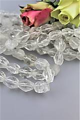 Minerály - Krištál horský korálky brúsené - cena za 3ks - 9016066_
