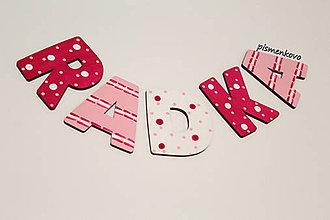 Tabuľky - RADKA dievčenské meno v odtieňoch ružovej - 9017634_
