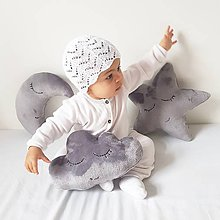 Textil - vankúšik mini sivý obláčik - 9018350_