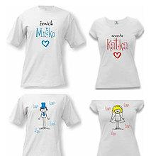 Tričká - Ženích, Nevesta - áno, áno, áno - svadobné tričká - 9018509_