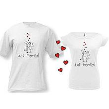 Tričká - Just married - svadobné tričká - 9018601_