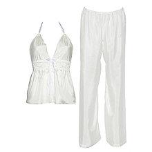 Pyžamy a župany - Lullaby biela - košieľka a nohavice - 9019605_