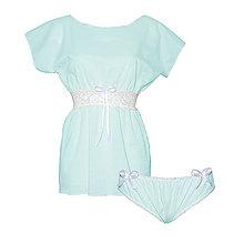 Pyžamy a župany - Lullaby modrá  - kimono a nohavičky - 9019736_