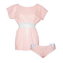 Pyžamy a župany - Lullaby ružová - kimono a nohavičky - 9019823_