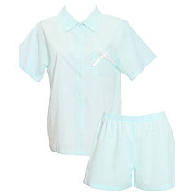 Pyžamy a župany - Lotus modrá - košeľa s krátkym rukávom a šortkami - 9019840_
