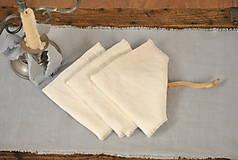 Úžitkový textil - ľanový obrúsok/vreckovka (biely) - 9018243_