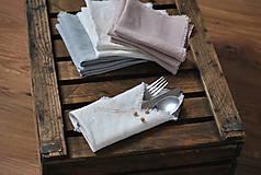 Úžitkový textil - ľanový obrúsok/vreckovka (biely) - 9018251_