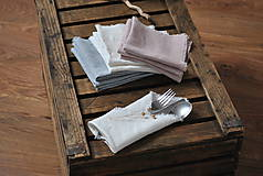 Úžitkový textil - ľanový obrúsok/vreckovka (biely) - 9018253_