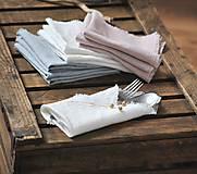 Úžitkový textil - ľanový obrúsok/vreckovka (biely) - 9018254_