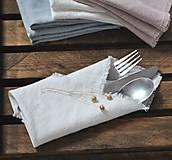 Úžitkový textil - ľanový obrúsok/vreckovka (biely) - 9018255_