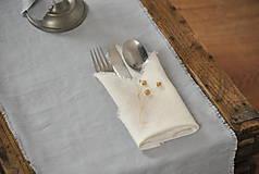 Úžitkový textil - ľanový obrúsok/vreckovka (biely) - 9018260_