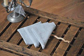 Úžitkový textil - ľanový obrúsok/vreckovka (sivomodrý) - 9018183_