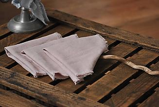 Úžitkový textil - ľanový obrúsok/vreckovka (sivoružový) - 9018196_