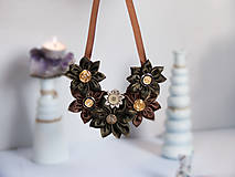 - Náhrdelník s kvetmi hnedo-zeleno-zlatý - 9017941_