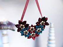 - Náhrdelník s kvetmi tyrkysovo-bordový - 9018206_